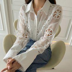 DABAGIRL - Lace-Detail Perforated Sheer Shirt