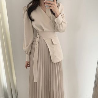 Koelis - Long-Sleeve Plaid Midi Dress