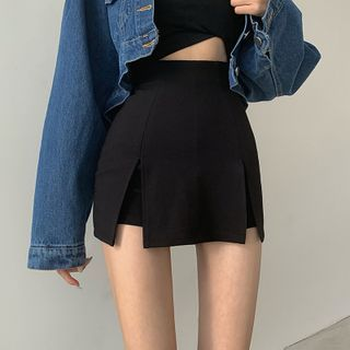 Aciaga - Side-Slit Mini Pencil Skirt