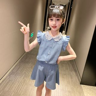 Qin Qin - Kids Set: Sleeveless Denim Shirt + Mini A-Line Skirt