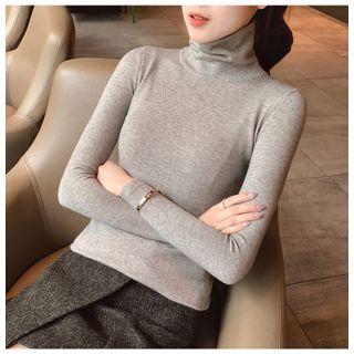Carmenta - Long-Sleeve Turtle-Neck Plain Knit Top
