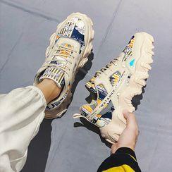 HANO - Color Block Print Panel Platform Sneakers
