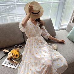 Empressa - Maternity V-Neck Floral Midi A-Line Dress