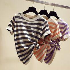 Honey House - Short-Sleeve Striped Knit Top