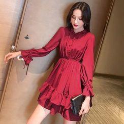 Dhan Dhan - Long-Sleeve Ruffled A-Line Chiffon Dress