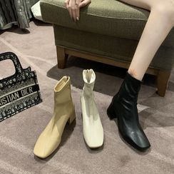clog & wings - Faux Leather Block Heel Short Boots