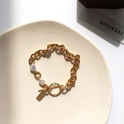 Yambo - Faux Pearl Alloy Bracelet