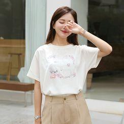 CLICK - Round-Neck Printed T-Shirt