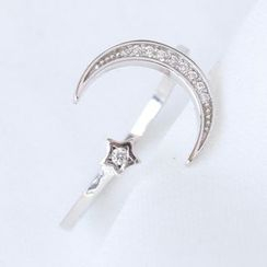 Blinglitz - 925 Sterling Silver Rhinestone Moon & Star Open Ring