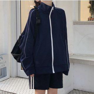 Magimomo - Contrast Trim Stand Collar Zip Jacket