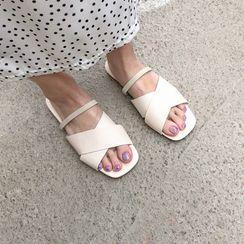 MERONGSHOP - Cross-Strap Slide Sandals