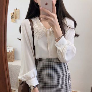 Leoom - Lace Collar Blouse