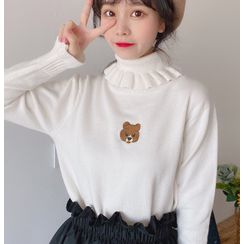 Fabricino(ファブリチーノ) - Mock Neck Embroidered Knit Top