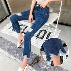 Kearen - Cropped Distressed Boot-Cut Jeans