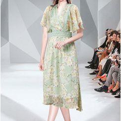 Seire - Floral Short-Sleeve Midi A-Line Dress