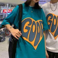 Ink Brush - Couple Matching Short-Sleeve Heart Print T-Shirt