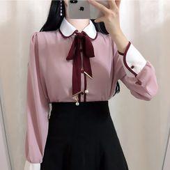 伊之恋 - 长袖蝴蝶结装饰衬衫