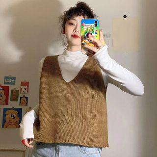 Opis - Turtleneck Long-Sleeve T-Shirt / Knit Vest / Pinafore Dress