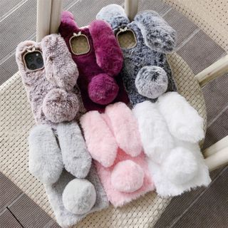 Edgin - Faux Fur Rabbit Ear Phone Case - iPhone 7 / 7 Plus / 8 / 8 Plus / X / XR / XS / XS MAX / 11 / 11 Pro / 11 Pro Max