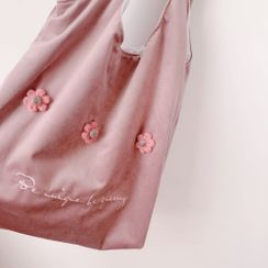 Hello minto - Embroidered Flower Flannel Shopper Bag