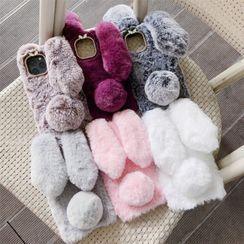 Edgin - Faux Fur Rabbit Ear Phone Case - iPhone 7 / 7 Plus / 8 / 8 Plus / X / XR / XS / XS MAX / 11 / 11 Pro / 11 Pro Max