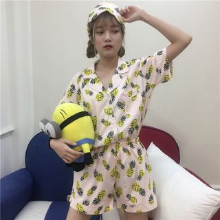 Sadelle - Pajama Set: Pineapple Print Short-Sleeve Shirt + Shorts + Sleeping Mask