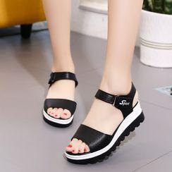 Moonlit Valley(ムーンリットバレー) - Platform Wedge Ankle Strap Sandals