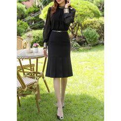 Styleonme - Belted Pleated-Hem Midi Skirt