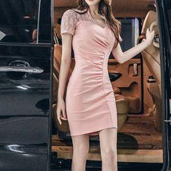 Cape Jasmine - Short-Sleeve Lace Panel Mini Sheath Dress