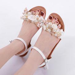 Anran - Faux Pearl Ankle-Strap Flat Sandals