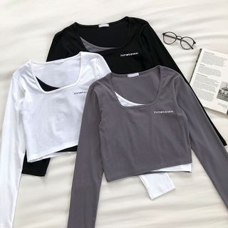DIYI - Mock Two-Piece Lettering Square-Neck Long-Sleeve T-Shirt