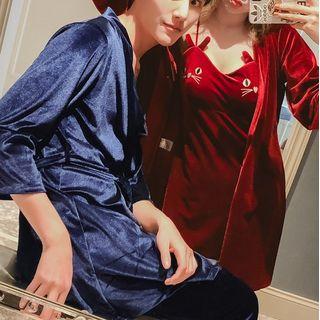 Almilo - Couple Matching Velvet Sleep Dress / Open Front Jacket / Pants / Set