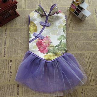 Fuminsho - Floral Print Frog Button Pet Dress