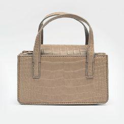 icecream12 - Croc-Grain Hand Bag with Shoulder Strap