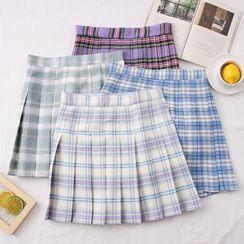 Babique - Plaid High-Waist Pleated Mini Skirt