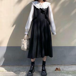 Maisee - Long-Sleeve Lace-Trim Shirt / Midi Pinafore Dress