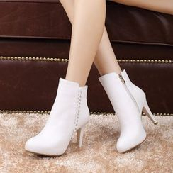 Shoes Galore - High Heel Genuine Leather Short Boots
