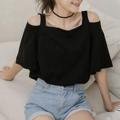 Miahynn - Off-Shoulder Short-Sleeve T-Shirt