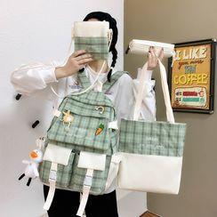 Novila - Set: Canvas Backpack + Tote Bag + Crossbody Bag + Pencil Case