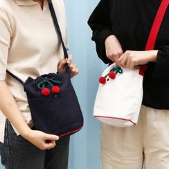 iswas - ''Romane'' Series Cherry-Appliqué Crossbody Bag