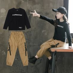 PAM - Kids Set: Lettering Long-Sleeve T-Shirt + Cargo Jogger Pants