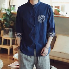 Andrei - 3/4-Sleeve Print Trim Frog-Buttoned Stand Collar Shirt