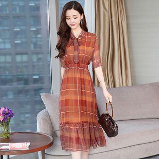 Copertina - Patterned Elbow-Sleeve Chiffon Dress