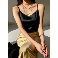 Styleonme - Plain Satin Camisole Top
