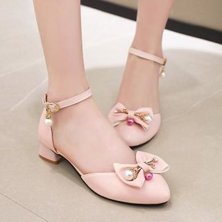 Shoes Galore - Bow Accent Block-Heel Ankle-Strap Sandals
