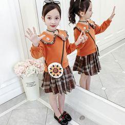 Pegasus - 小童套裝: 長袖上衣 + 格子裙 + 斜挎包