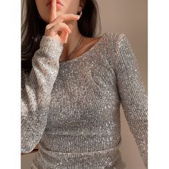 NDZ - Sequined Long-Sleeve Top