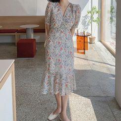 Lycoris - Floral Short-Sleeve Midi A-Line Dress