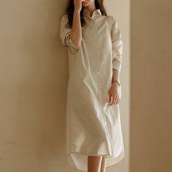 JUSTONE - Dip-Back Cotton Long Shirtdress