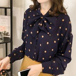 Vinales - Dotted Bow Accent Blouse